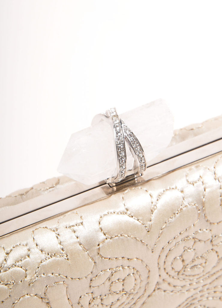 "Marchesa Beige ""Oyster"" Embroidered Satin Quartz Latch ""Lily"" Clutch Bag Detail 2"