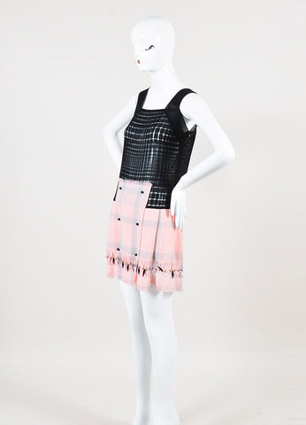 Marco de Vincenzo Black and Pink Semi Sheer Beaded Sleeveless Dress Sideview