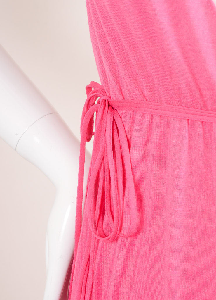 "Miguelina New With Tags Pink ""Elisa"" V-Neck Jersey Maxi Dress Detail"