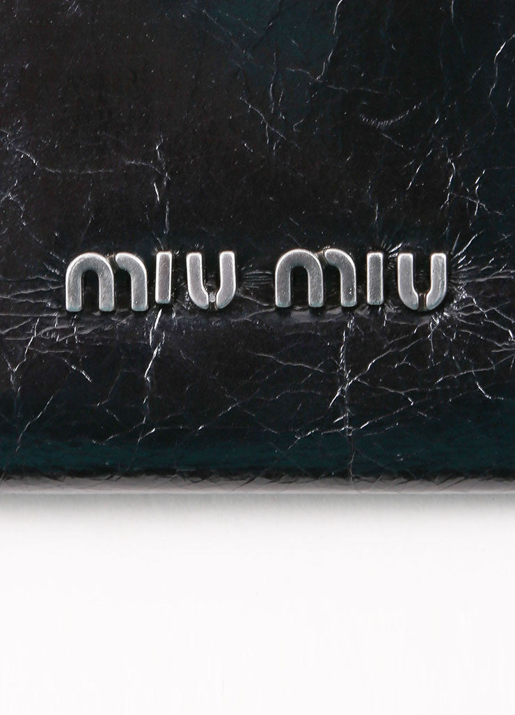 "Miu Miu Black Crackle Leather Jewel ""Shine Cristal"" Flap Wallet Brand"