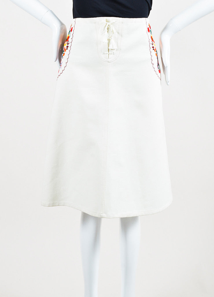 Miu Miu Cream and Multicolor Floral Embroidered Lace Up Midi Skirt Frontview