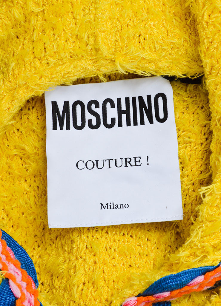 Yellow and Multicolor Moschino Couture! Hooded Ribbon Wave Trim Zip Dress Brand