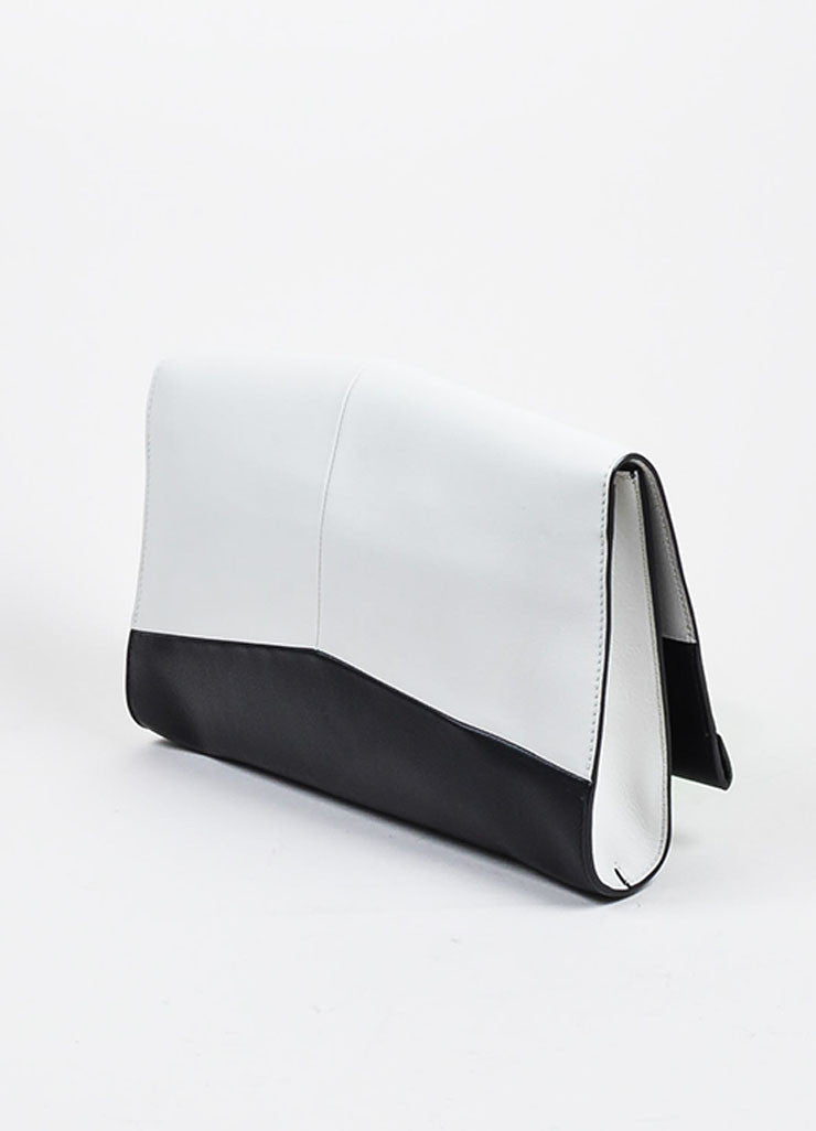 "Grey and Black Narciso Rodriguez Leather Color Block ""Alia"" Clutch Bag Sideview"
