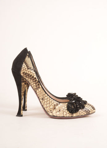 Nina Ricci Cream and Black Snakeskin Bead Embellished Pumps Sideview