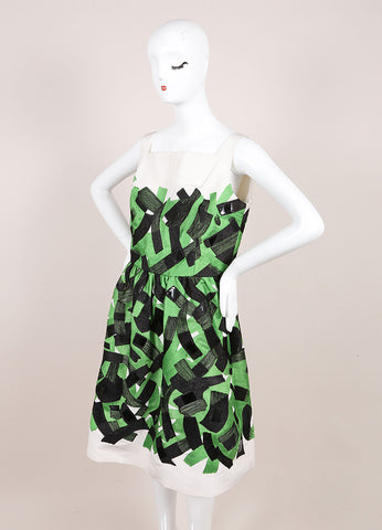 Oscar de la Renta Green, Black, and Cream Brushstroke Stitched Sleeveless Silk Dress Sideview
