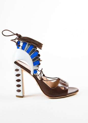 "Paula Cademartori  Brown and White Leather Suede ""Lotus"" Sandals Sideview"