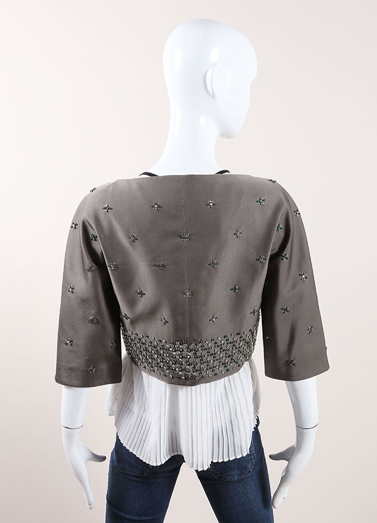 Prada Grey and Green Wool and Silk Floral Beaded Rhinestone Jacket Backview