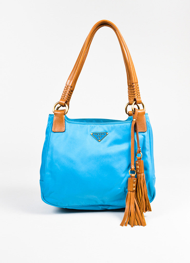 Prada Teal Blue Tan Nylon Leather Trim Tassel Top Handle Tote Bag Frontview