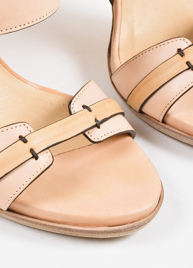 Reed Krakoff Pink, Silver, and Beige Leather Platform Stiletto Sandals Detail