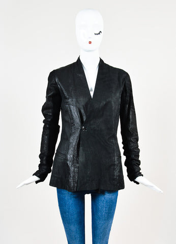 ¥éËRick Owens Black Leather Wool Knit Contrast Distressed Jacket Frontview 2