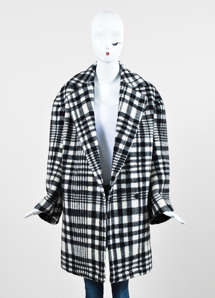 Stella McCartney Black and White Wool Plaid Oversized Pea Coat Frontview