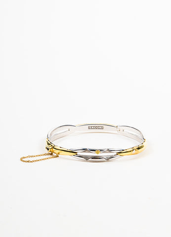 "Tacori Sterling Silver and 18K Gold ""Promise"" Lock and Key Bangle Bracelet Frontview"