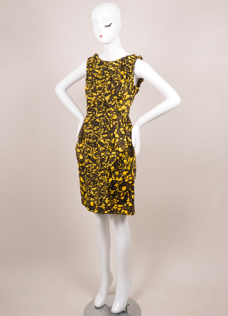 Thakoon Yellow, Black, and Brown Cotton Printed Ruffle Shift Dress Sideview