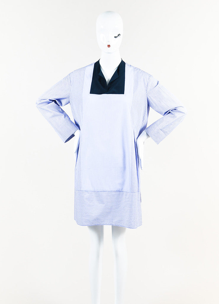 The Row Blue and White Cotton Striped Cropped Sleeve Tunic Shirt Dress Frontview