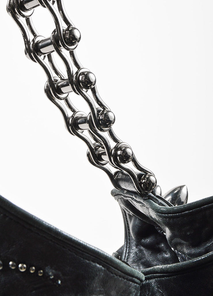 "Thomas Wylde Black Gunmetal Distressed Leather Jeweled ""Colossus Scorpion"" Bag Detail 2"
