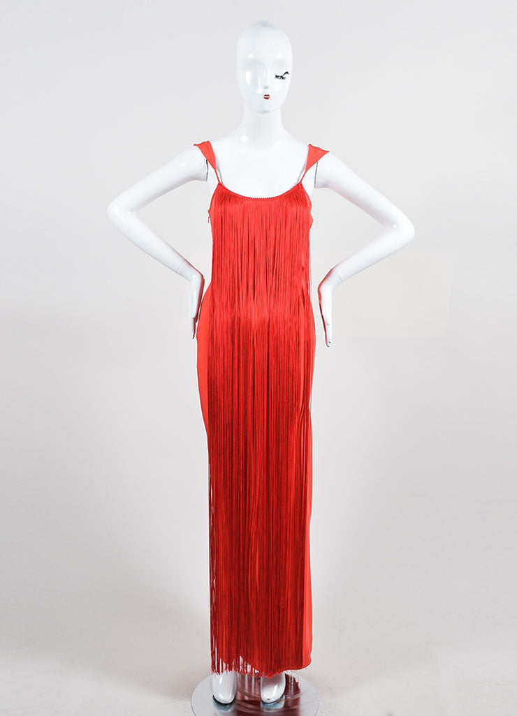 Red Tom Ford Draped Fringe Sleeveless Gown Front