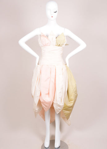 Bob Mackie Cream, Pink, and Green Silk Leaf Ruched Strapless Gown Frontview
