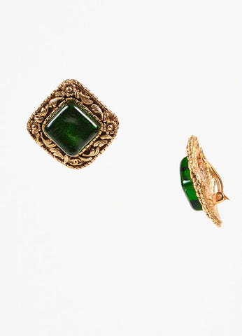Chanel Gold Toned and Emerald Green Stone Floral Square Clip On Earrings Sideview
