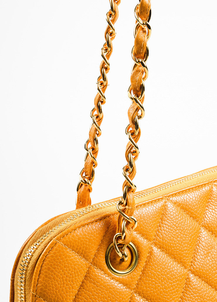 Chanel Orange Quilted Caviar Leather Shoulder Bag Detail 2