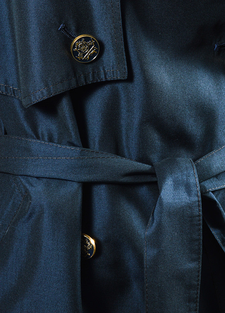 Navy Hermes Silk Logo Button Double Breasted Belted Trench Coat Detail