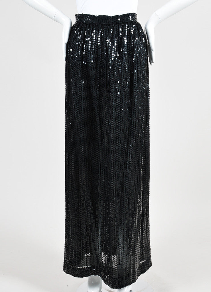 Black Oscar de la Renta Sequin Embellished Pleated Maxi Skirt Frontview