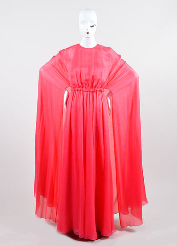 Coral Pink Valentino Silk Chiffon Cape Gown Frontview