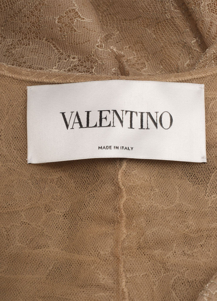 Valentino Taupe Laced Ruched Bow Embellished Zip Jacket Brand