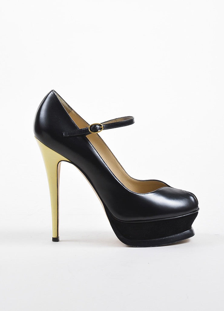 "Yves Saint Laurent Black Leather Suede ""Tribute 105"" Mary Jane Pumps  Sideview"