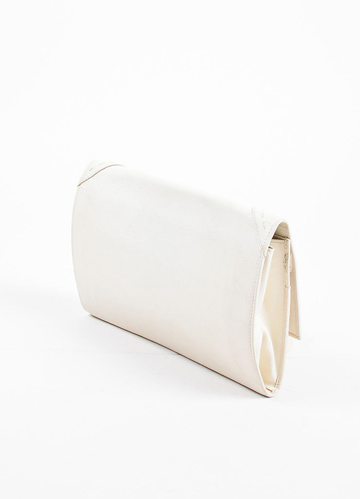 "Yves Saint Laurent Rive Gauche Cream Leather ""Muse Travel Clutch"" Bag Sideview"