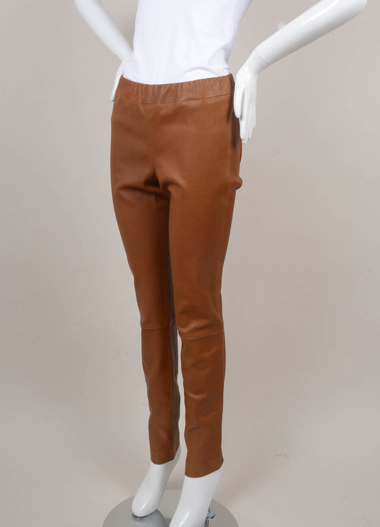 Brown Stretch Leather Leggings