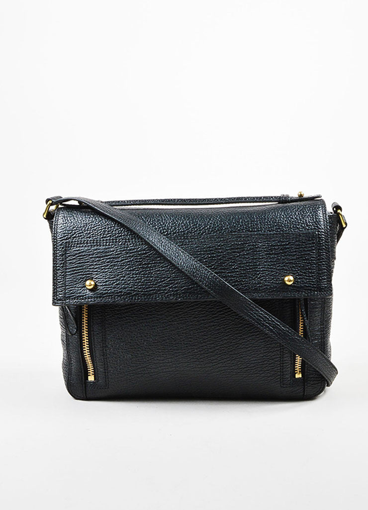 3.1 Phillip Lim Black Textured Leather Pashli Messenger Bag Frontview
