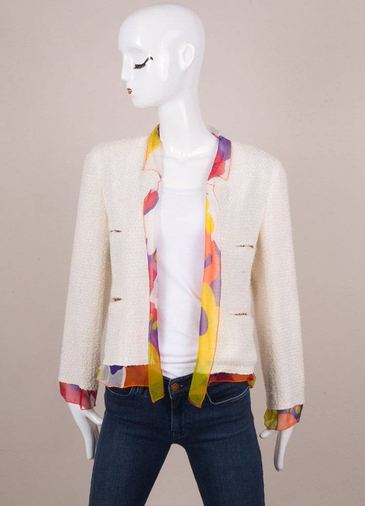 Chanel Off White and Multicolor Floral Print Silk and Tweed Three Piece Suit Jacket