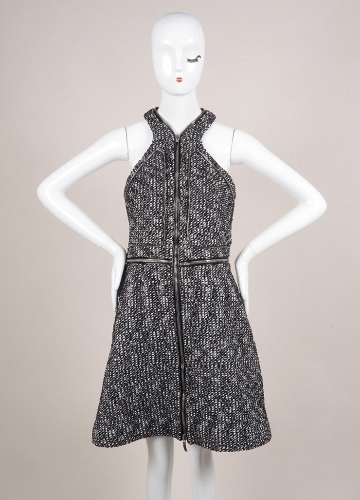 Alexander McQueen Black and White Cotton Tweed Zipper Racer Back Dress Frontview