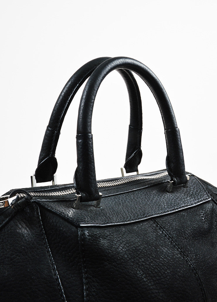 "Alexander Wang Black and Silver Toned Nubuck Leather Metal ""Large Emile"" Satchel Bag Detail 2"