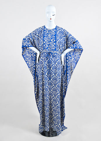 Blue and Cream Andrew Gn Silk Floral Drawstring Maxi Caftan Dress Frontview