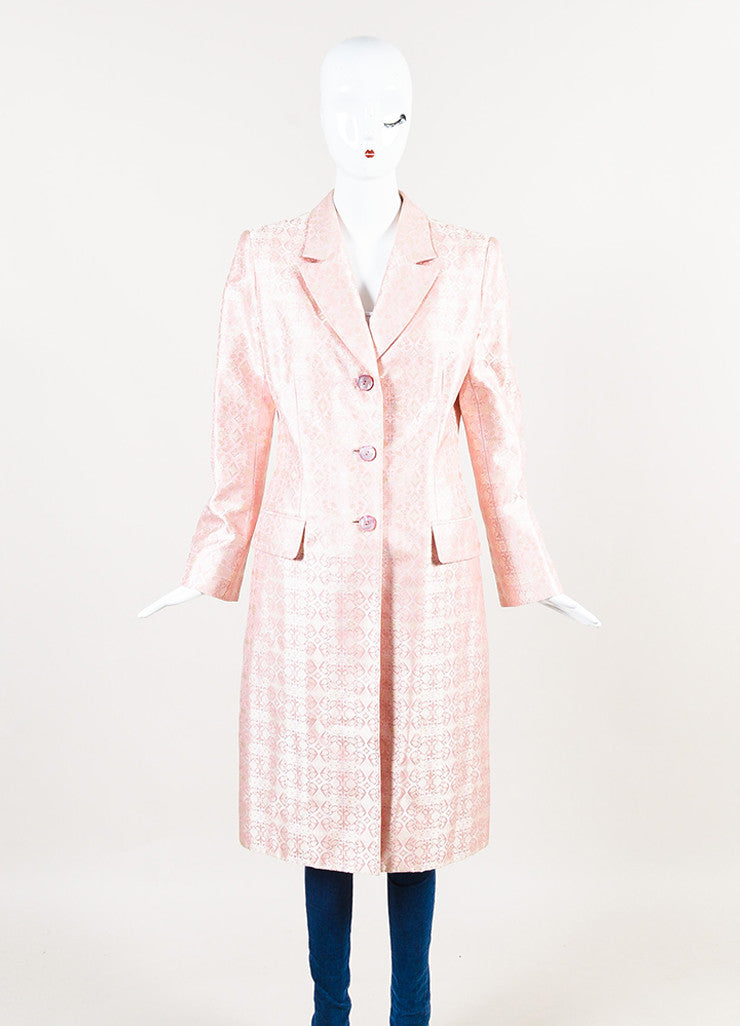 Badgley Mischka Pink and Cream Silk Jacquard Long Jacket Frontview 2
