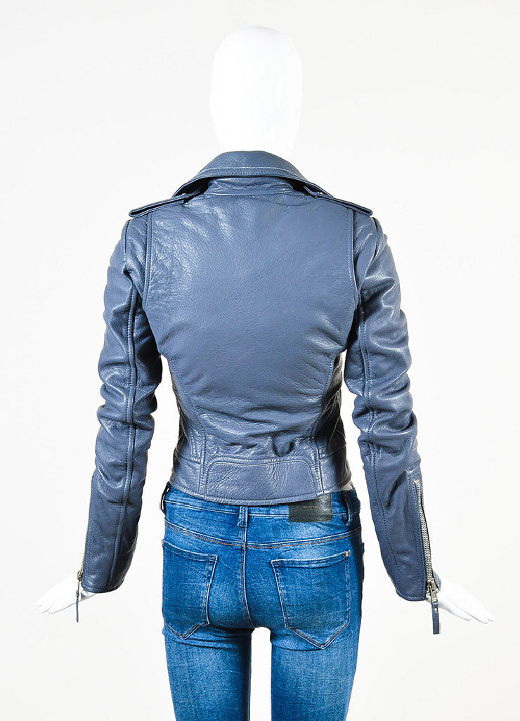 Balenciaga Grey Lamb Leather SHW Collared Motorcycle Jacket Backview