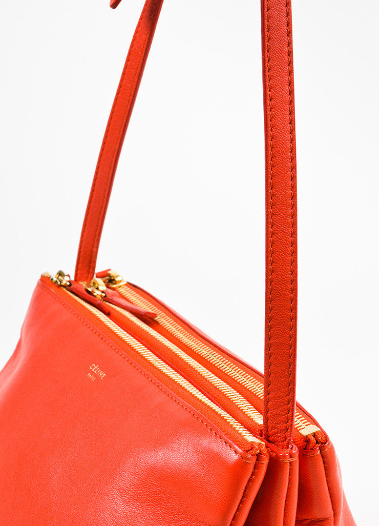 "Celine Red Lambskin Leather ""Trio"" Crossbody Bag Detail 2"