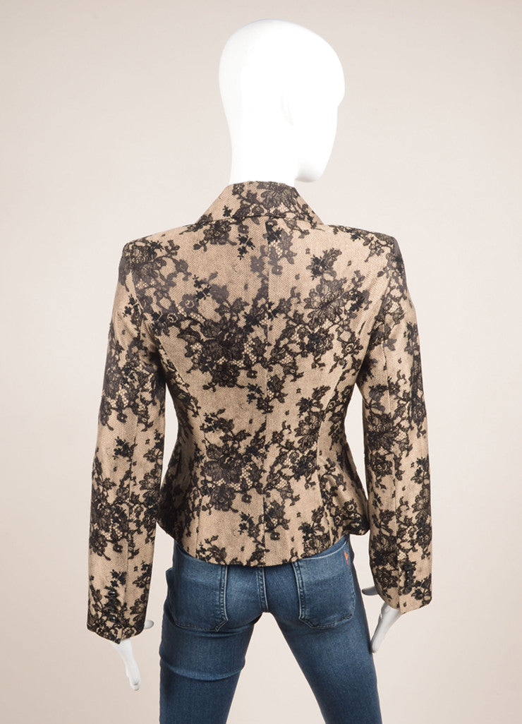 Celine Black and Nude Silk and Cotton Lace Embroidered Blazer Backview