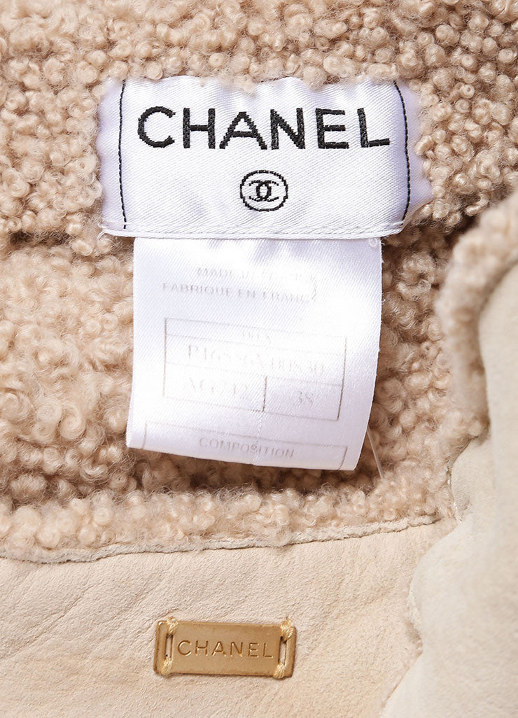 Chanel Beige Suede Shearling Lambswool A Line Skirt Detail