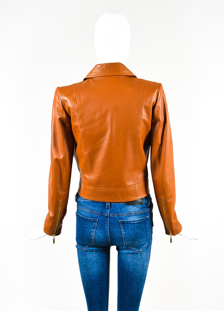 Chanel Brown Leather Asymmetrical Pocket Zip Moto Jacket Backview