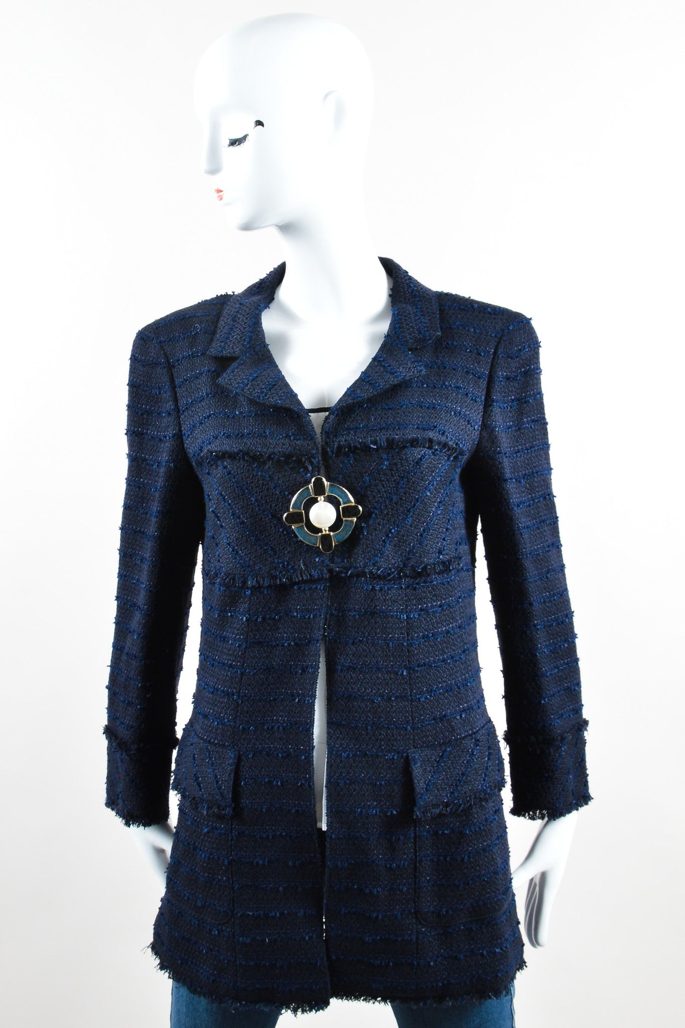 Chanel Navy Cotton and Linen Tweed Faux Pearl Button Skirt Suit Jacket