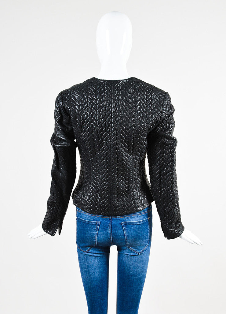 Black Chanel Textured Leather Collarless Cropped Jacket Backview