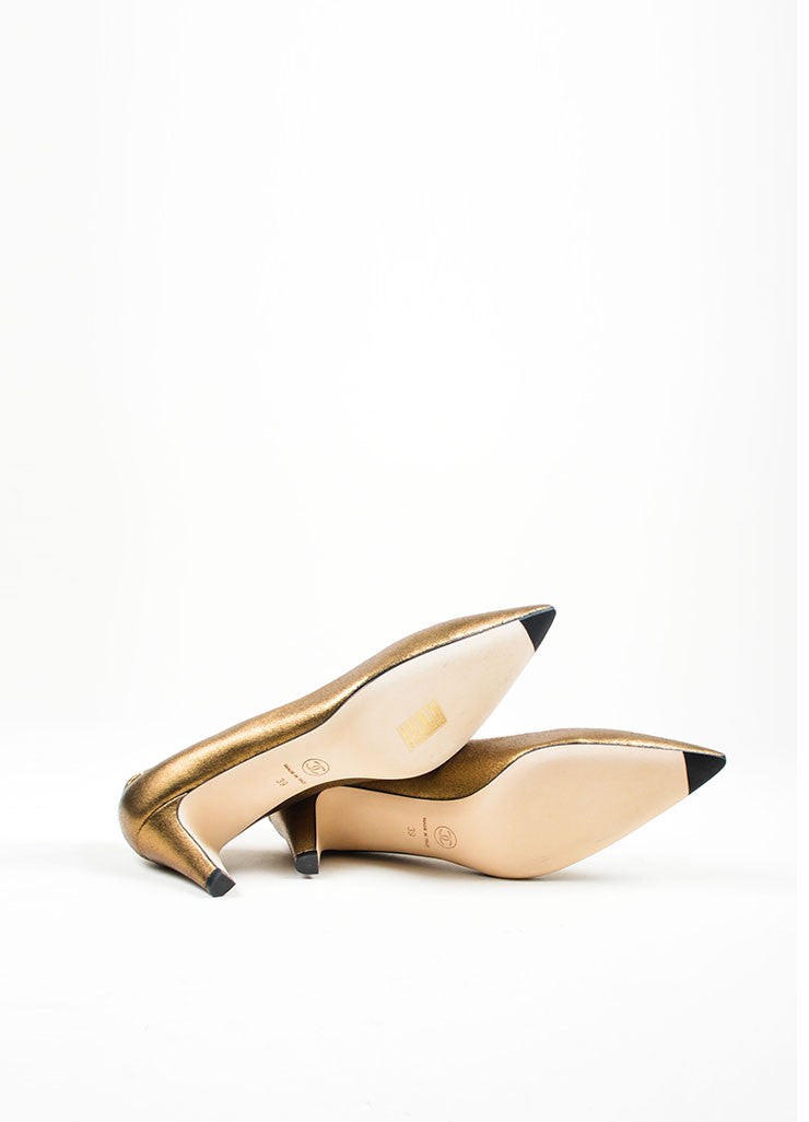 Bronze Chanel Leather Metallic Foil 'CC' Pointed Pumps Sole