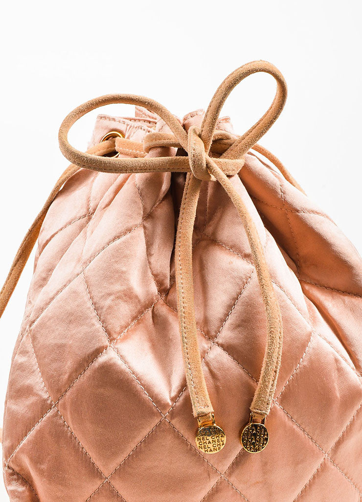 å´?ÌÜChanel Blush Pink Suede Satin Quilted Faux Pearl Drawstring Backpack Bag Detail 5