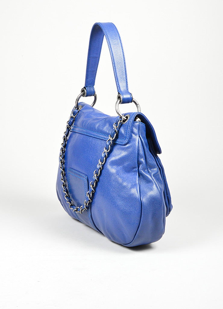Cobalt Blue and Silver Toned Chanel Glazed Caviar Leather 'CC' Flap Hobo Bag Sideview