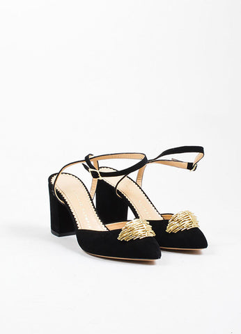 "Black Suede Charlotte Olympia ""Eileen"" Ankle Wrap Pumps Frontview"