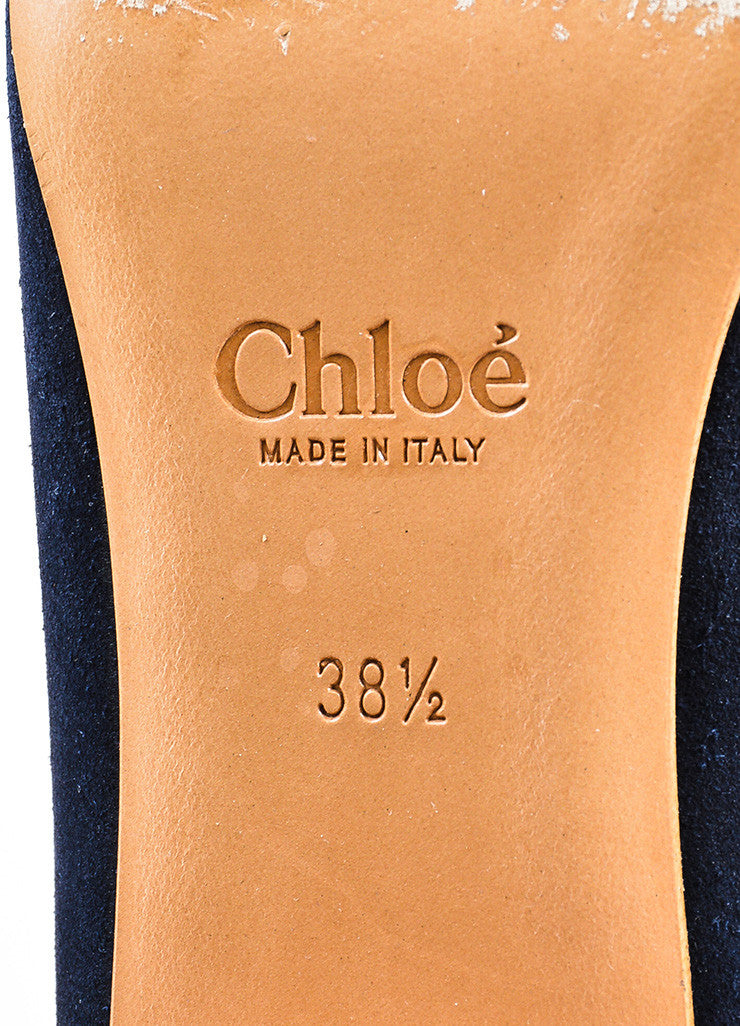 "Navy Blue, Tan, and Gold Toned Chloe Suede Leather ""Celtic Night"" Boots Brand"