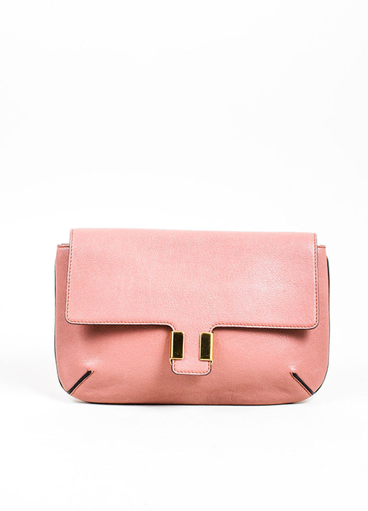 "Chloe ""Amelia"" Rose Pink Leather Gold Toned Flap Clutch Bag Frontview"