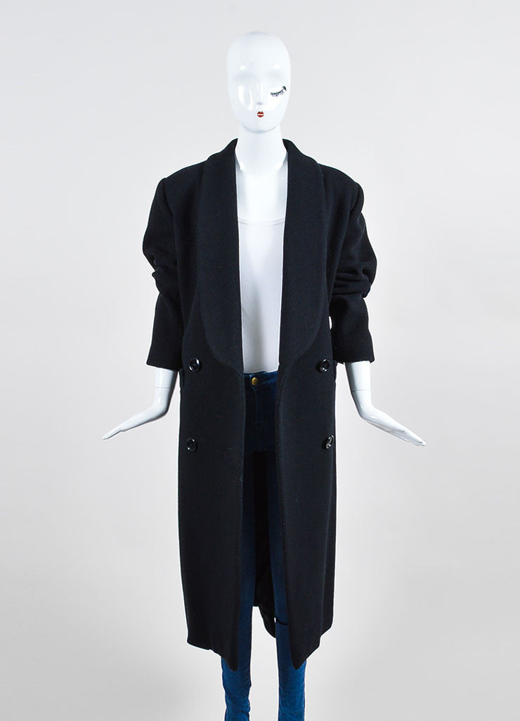 Black Christian Dior Wool Double Breasted Shawl Collar Full Length Coat Frontview